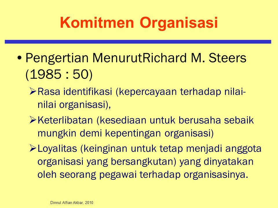 Dinnul Alfian Akbar, 2010 Komitmen Organisasi Pengertian MenurutRichard M. Steers (1985 : 50)  Rasa identifikasi (kepercayaan terhadap nilai- nilai o