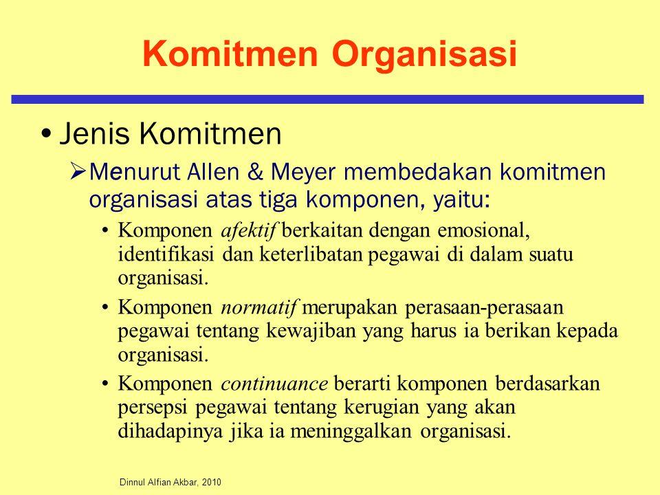 Dinnul Alfian Akbar, 2010 Komitmen Organisasi Jenis Komitmen  Menurut Allen & Meyer membedakan komitmen organisasi atas tiga komponen, yaitu: Komponen afektif berkaitan dengan emosional, identifikasi dan keterlibatan pegawai di dalam suatu organisasi.