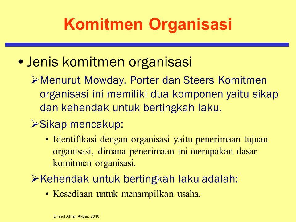 Dinnul Alfian Akbar, 2010 Komitmen Organisasi Jenis komitmen organisasi  Menurut Mowday, Porter dan Steers Komitmen organisasi ini memiliki dua kompo