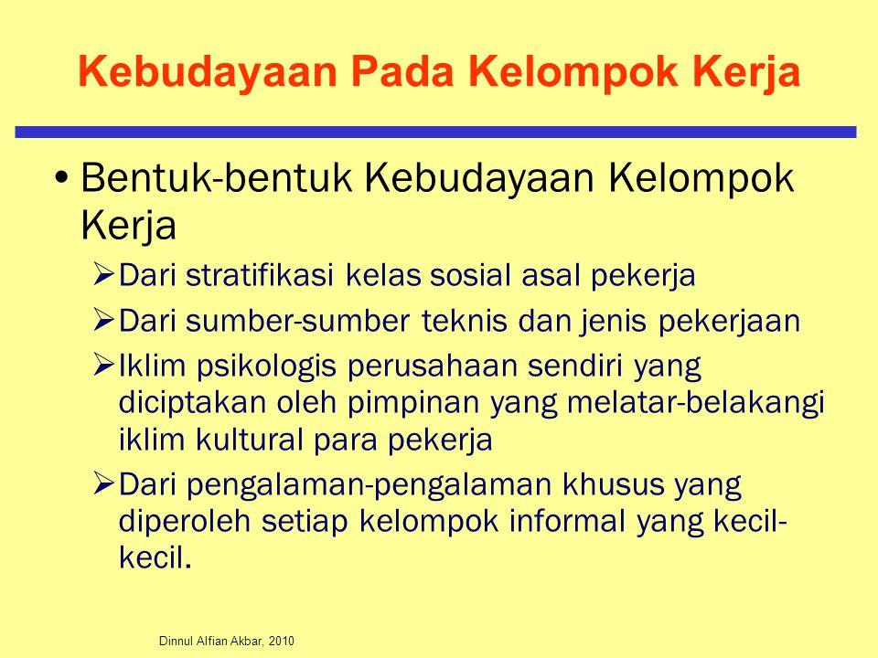 Dinnul Alfian Akbar, 2010 Kebudayaan Pada Kelompok Kerja Bentuk-bentuk Kebudayaan Kelompok Kerja  Dari stratifikasi kelas sosial asal pekerja  Dari