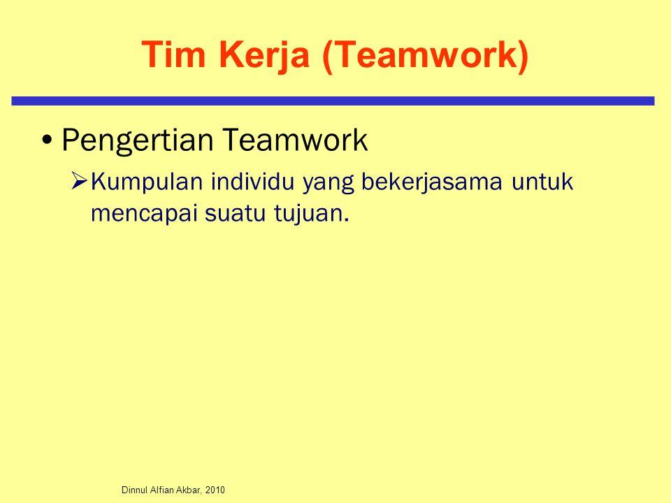 Dinnul Alfian Akbar, 2010 Tim Kerja (Teamwork) Pengertian Teamwork  Kumpulan individu yang bekerjasama untuk mencapai suatu tujuan.