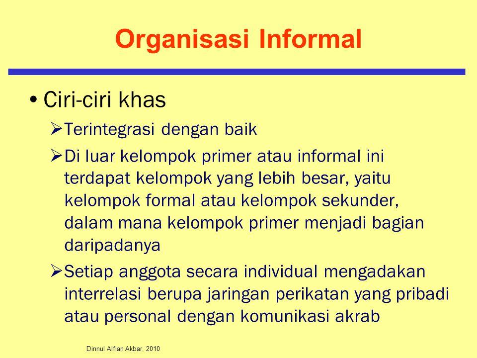 Dinnul Alfian Akbar, 2010 Organisasi Informal Ciri-ciri khas  Terintegrasi dengan baik  Di luar kelompok primer atau informal ini terdapat kelompok
