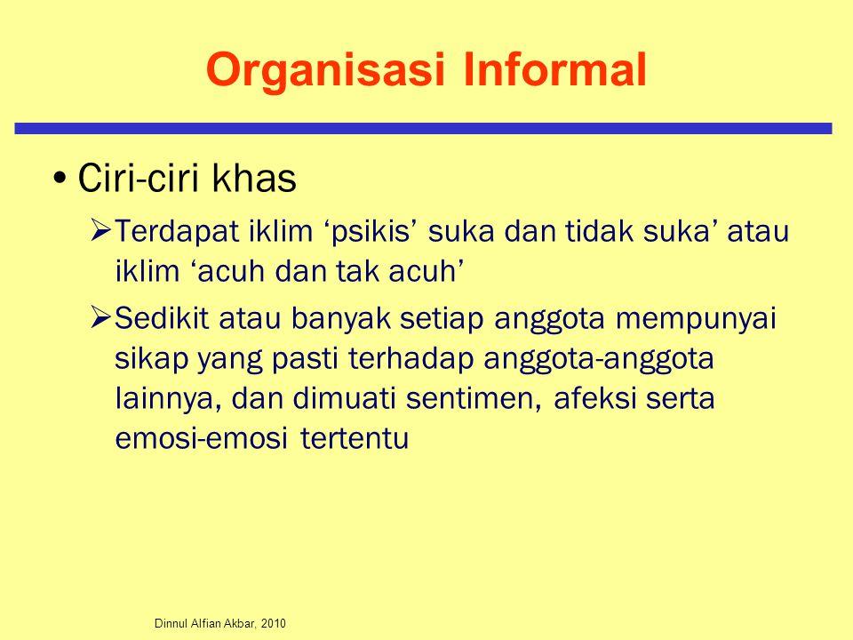 Dinnul Alfian Akbar, 2010 Organisasi Informal Ciri-ciri khas  Terdapat iklim 'psikis' suka dan tidak suka' atau iklim 'acuh dan tak acuh'  Sedikit a