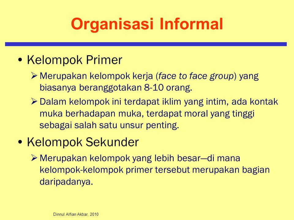 Dinnul Alfian Akbar, 2010 Organisasi Informal Kelompok Primer  Merupakan kelompok kerja (face to face group) yang biasanya beranggotakan 8-10 orang.