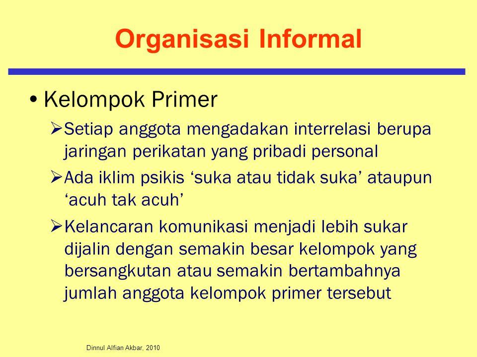 Dinnul Alfian Akbar, 2010 Organisasi Informal Kelompok Sekunder  Relasi dari setiap anggota sifatnya lebih formal  Sikap terhadap sesamanya banyak dimuati oleh tujuan obyektif