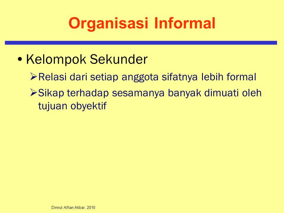 Dinnul Alfian Akbar, 2010 Organisasi Informal Kelompok Sekunder  Relasi dari setiap anggota sifatnya lebih formal  Sikap terhadap sesamanya banyak d