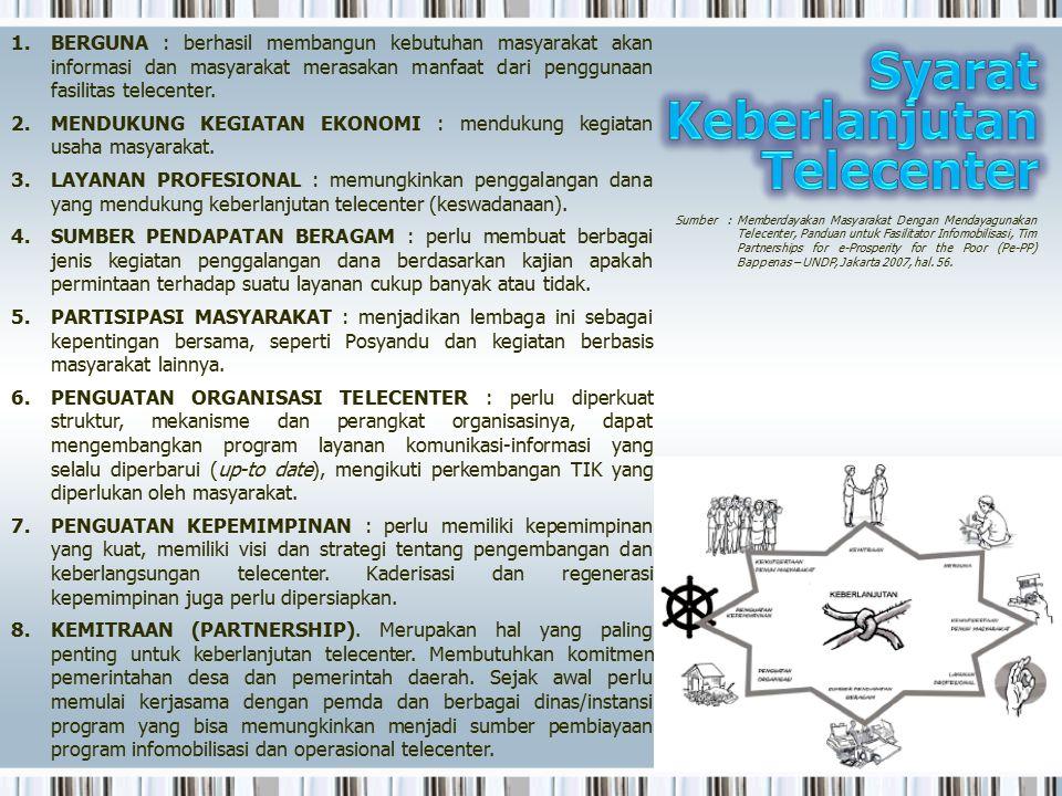 1.BERGUNA : berhasil membangun kebutuhan masyarakat akan informasi dan masyarakat merasakan manfaat dari penggunaan fasilitas telecenter. 2.MENDUKUNG
