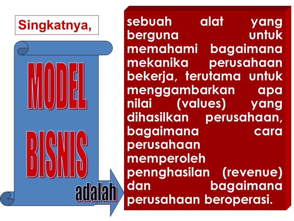 Model bisnis terdiri dari sembilan blok dasar pembangun model bisnis, yaitu : 1.Customer segments : Kelompok konsumen yang berbeda karakteristik.