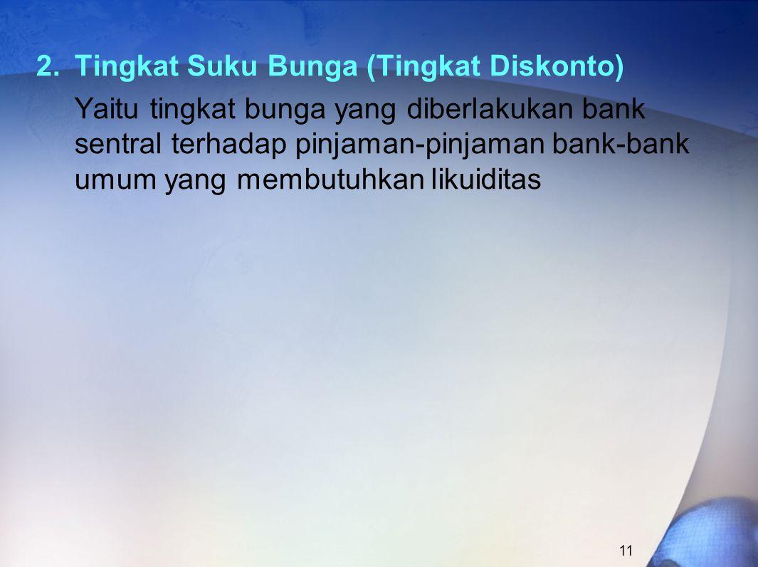 2.Tingkat Suku Bunga (Tingkat Diskonto) Yaitu tingkat bunga yang diberlakukan bank sentral terhadap pinjaman-pinjaman bank-bank umum yang membutuhkan likuiditas 11