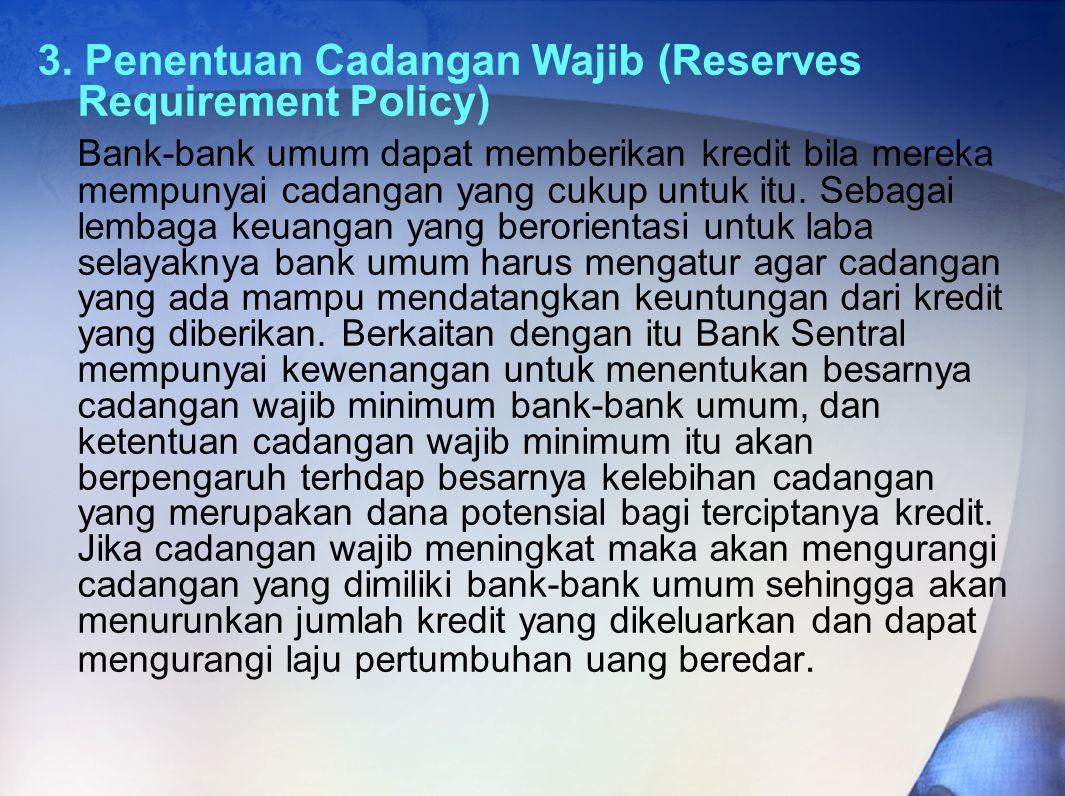3. Penentuan Cadangan Wajib (Reserves Requirement Policy) Bank-bank umum dapat memberikan kredit bila mereka mempunyai cadangan yang cukup untuk itu.