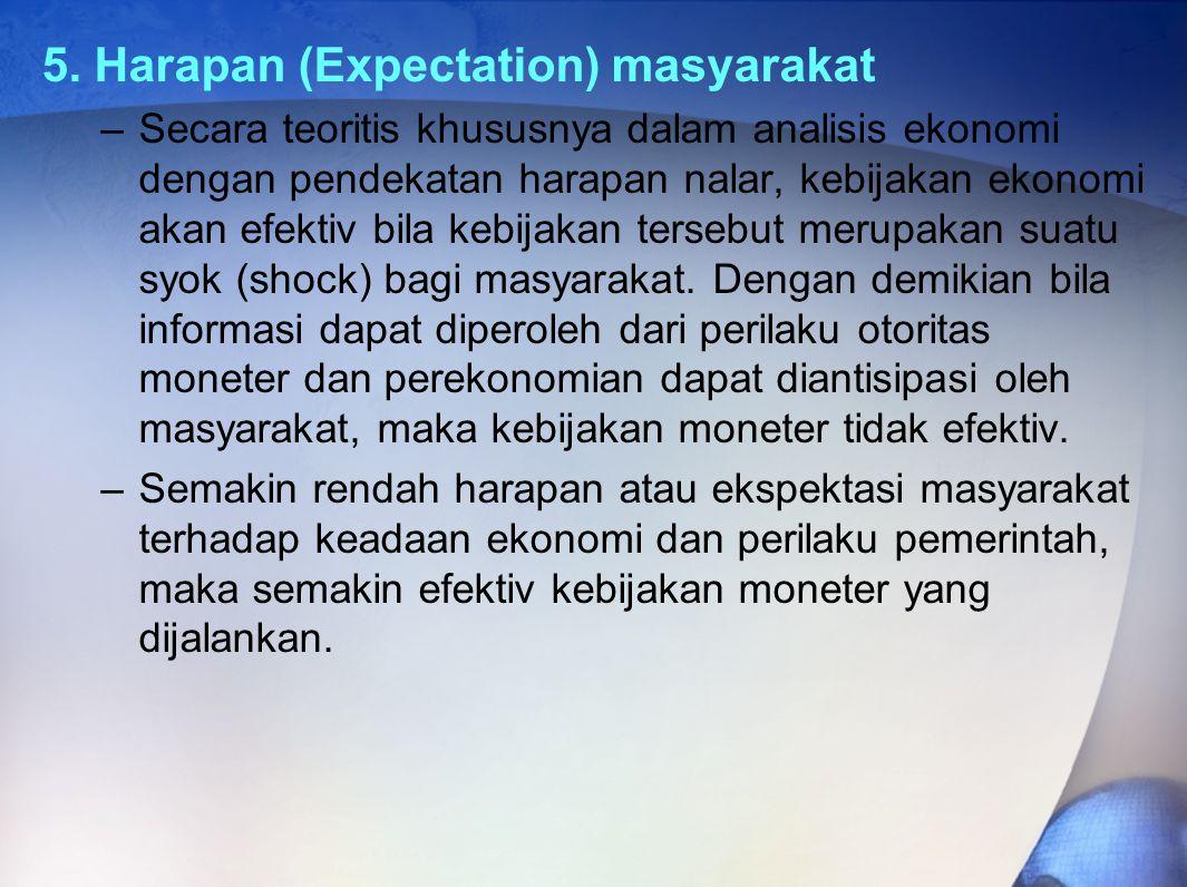 5. Harapan (Expectation) masyarakat –Secara teoritis khususnya dalam analisis ekonomi dengan pendekatan harapan nalar, kebijakan ekonomi akan efektiv