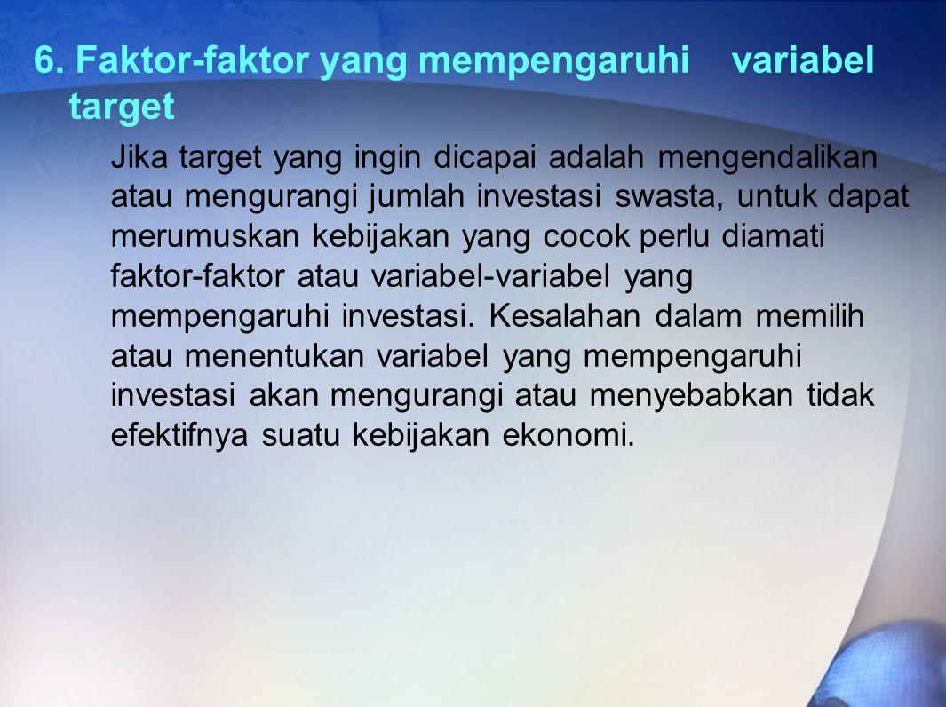 6. Faktor-faktor yang mempengaruhi variabel target Jika target yang ingin dicapai adalah mengendalikan atau mengurangi jumlah investasi swasta, untuk