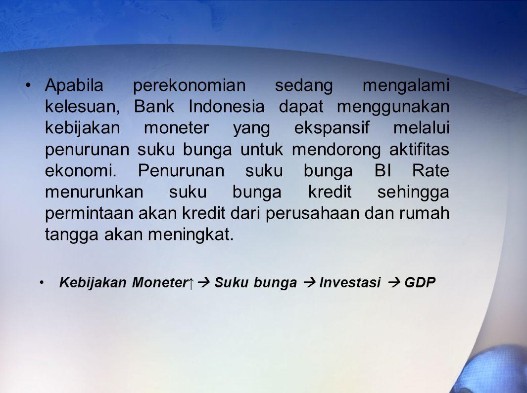 Apabila perekonomian sedang mengalami kelesuan, Bank Indonesia dapat menggunakan kebijakan moneter yang ekspansif melalui penurunan suku bunga untuk mendorong aktifitas ekonomi.
