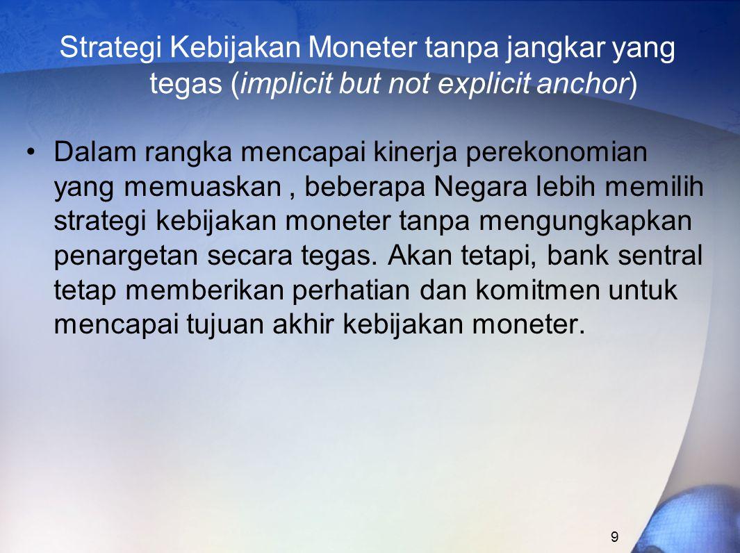 9 Strategi Kebijakan Moneter tanpa jangkar yang tegas (implicit but not explicit anchor) Dalam rangka mencapai kinerja perekonomian yang memuaskan, beberapa Negara lebih memilih strategi kebijakan moneter tanpa mengungkapkan penargetan secara tegas.