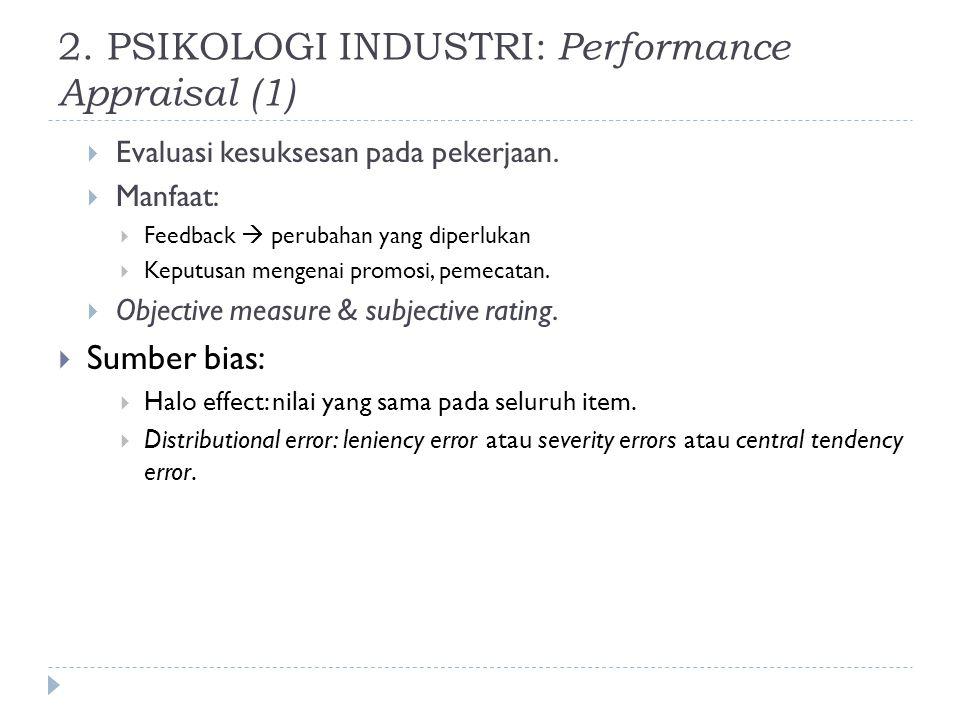 2. PSIKOLOGI INDUSTRI: Performance Appraisal (1)  Evaluasi kesuksesan pada pekerjaan.  Manfaat:  Feedback  perubahan yang diperlukan  Keputusan m