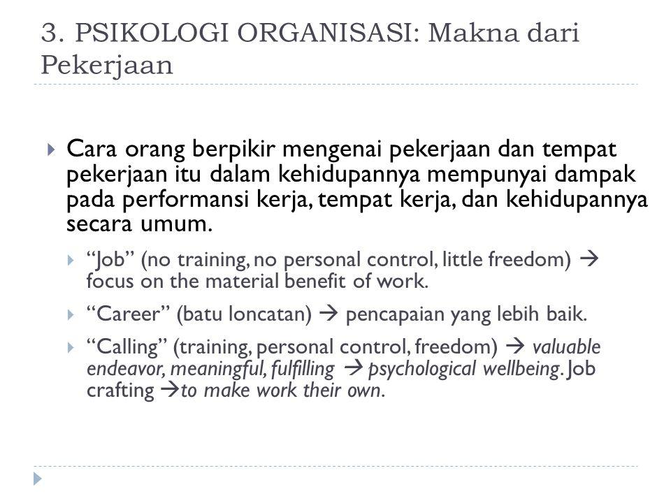 3. PSIKOLOGI ORGANISASI: Makna dari Pekerjaan  Cara orang berpikir mengenai pekerjaan dan tempat pekerjaan itu dalam kehidupannya mempunyai dampak pa