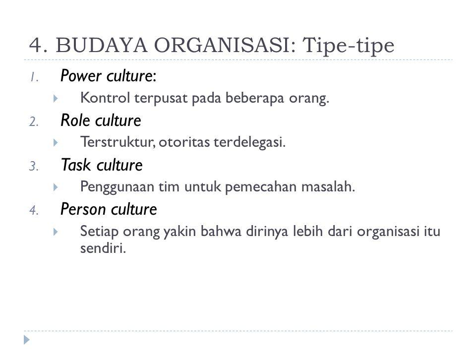 4. BUDAYA ORGANISASI: Tipe-tipe 1. Power culture:  Kontrol terpusat pada beberapa orang. 2. Role culture  Terstruktur, otoritas terdelegasi. 3. Task