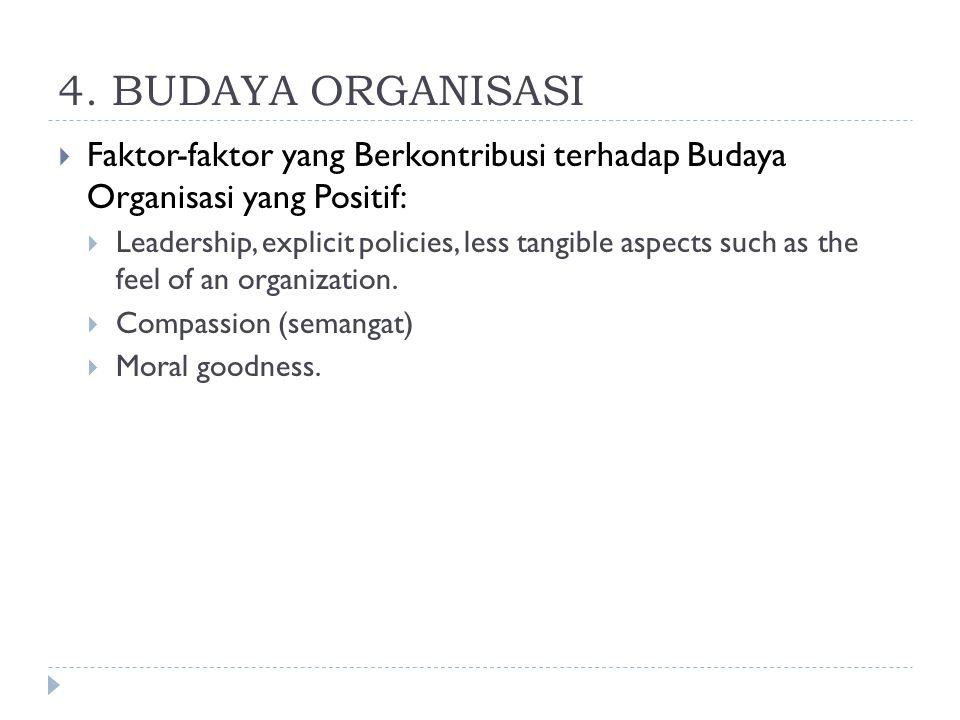 4. BUDAYA ORGANISASI  Faktor-faktor yang Berkontribusi terhadap Budaya Organisasi yang Positif:  Leadership, explicit policies, less tangible aspect