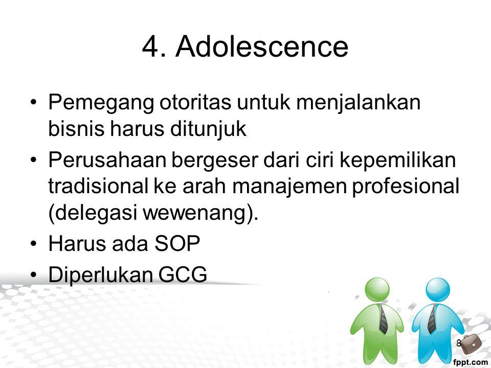 4. Adolescence Pemegang otoritas untuk menjalankan bisnis harus ditunjuk Perusahaan bergeser dari ciri kepemilikan tradisional ke arah manajemen profe
