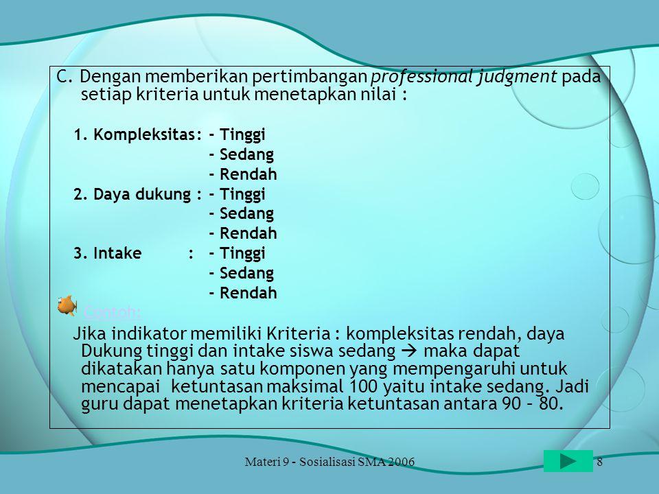 Materi 9 - Sosialisasi SMA 20069 TINGKAT KOMPLEKSITAS (Kesulitan & Kerumitan) setiap Indikator Pencapaian/Kompetensi Dasar yang harus dicapai oleh siswa.