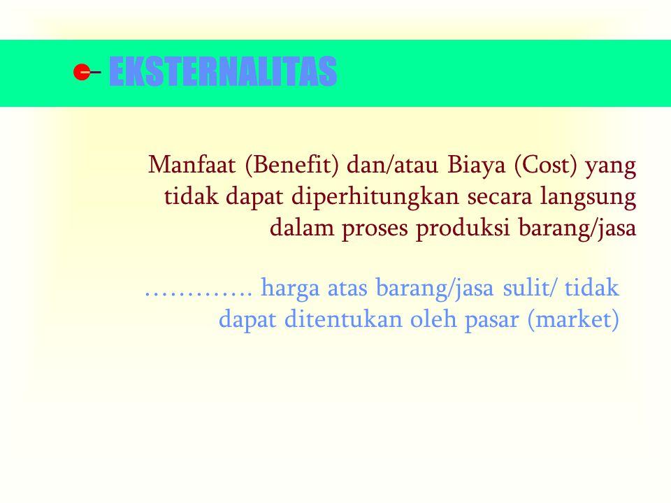 Manfaat (Benefit) dan/atau Biaya (Cost) yang tidak dapat diperhitungkan secara langsung dalam proses produksi barang/jasa ………….