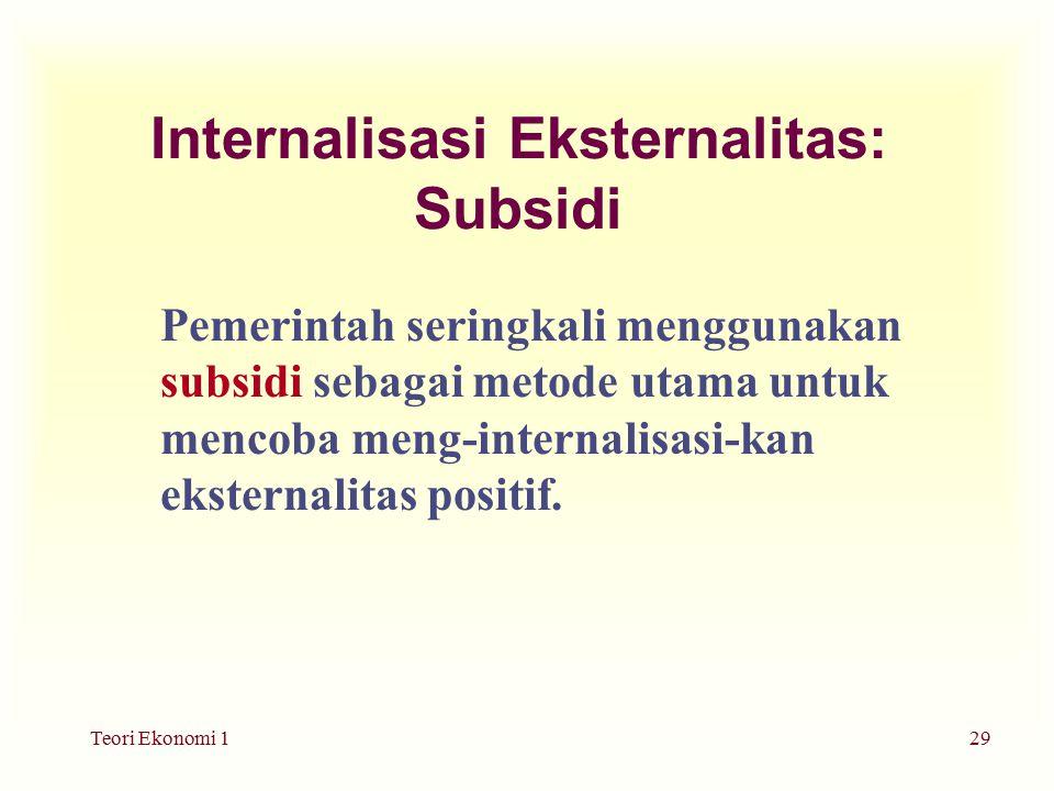 Teori Ekonomi 129 Internalisasi Eksternalitas: Subsidi Pemerintah seringkali menggunakan subsidi sebagai metode utama untuk mencoba meng-internalisasi-kan eksternalitas positif.