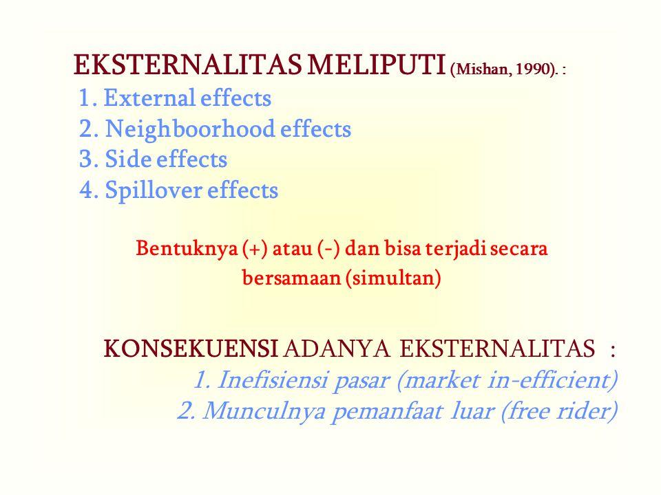 EKSTERNALITAS MELIPUTI (Mishan, 1990).: 1. External effects 2.
