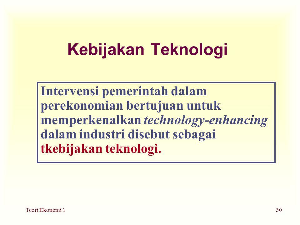 Teori Ekonomi 130 Kebijakan Teknologi Intervensi pemerintah dalam perekonomian bertujuan untuk memperkenalkan technology-enhancing dalam industri disebut sebagai tkebijakan teknologi.