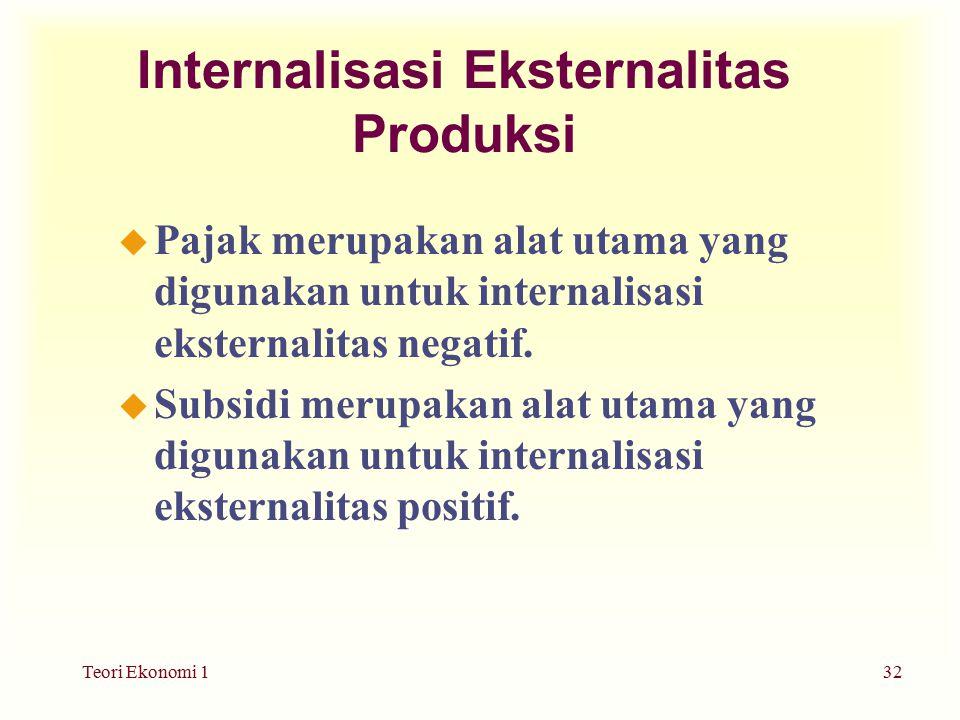 Teori Ekonomi 132 Internalisasi Eksternalitas Produksi u Pajak merupakan alat utama yang digunakan untuk internalisasi eksternalitas negatif.