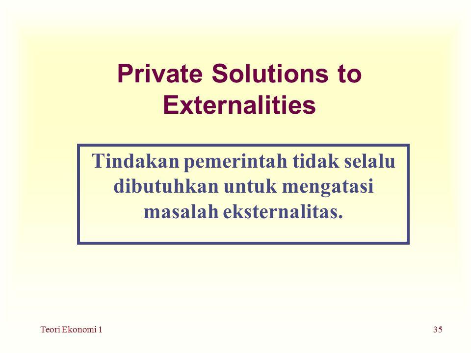 Teori Ekonomi 135 Private Solutions to Externalities Tindakan pemerintah tidak selalu dibutuhkan untuk mengatasi masalah eksternalitas.