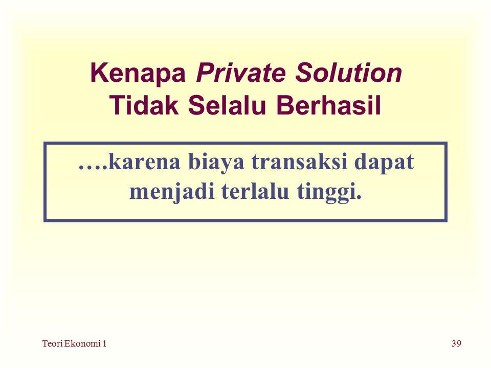 Teori Ekonomi 139 Kenapa Private Solution Tidak Selalu Berhasil ….karena biaya transaksi dapat menjadi terlalu tinggi.
