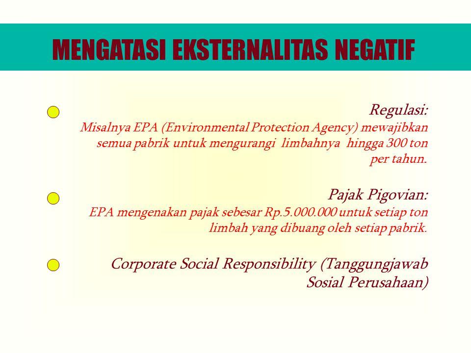 Regulasi: Misalnya EPA (Environmental Protection Agency) mewajibkan semua pabrik untuk mengurangi limbahnya hingga 300 ton per tahun.