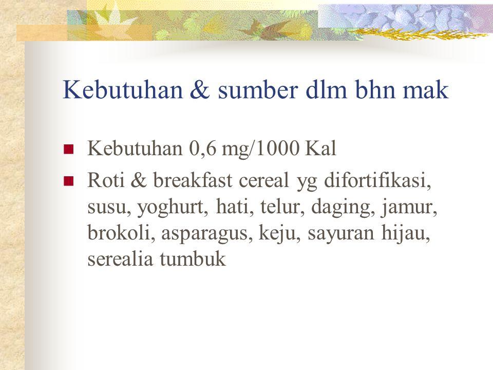 Kebutuhan & sumber dlm bhn mak Kebutuhan 0,6 mg/1000 Kal Roti & breakfast cereal yg difortifikasi, susu, yoghurt, hati, telur, daging, jamur, brokoli,