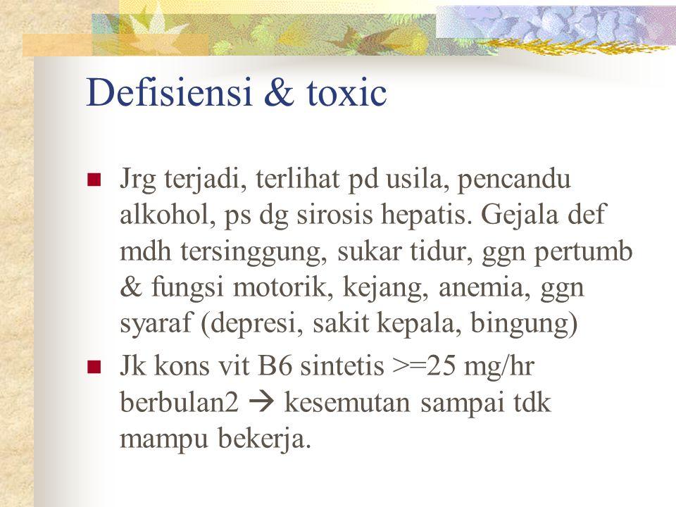 Defisiensi & toxic Jrg terjadi, terlihat pd usila, pencandu alkohol, ps dg sirosis hepatis. Gejala def mdh tersinggung, sukar tidur, ggn pertumb & fun