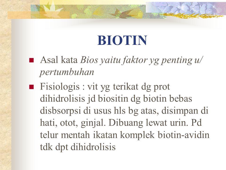 BIOTIN Asal kata Bios yaitu faktor yg penting u/ pertumbuhan Fisiologis : vit yg terikat dg prot dihidrolisis jd biositin dg biotin bebas disbsorpsi d