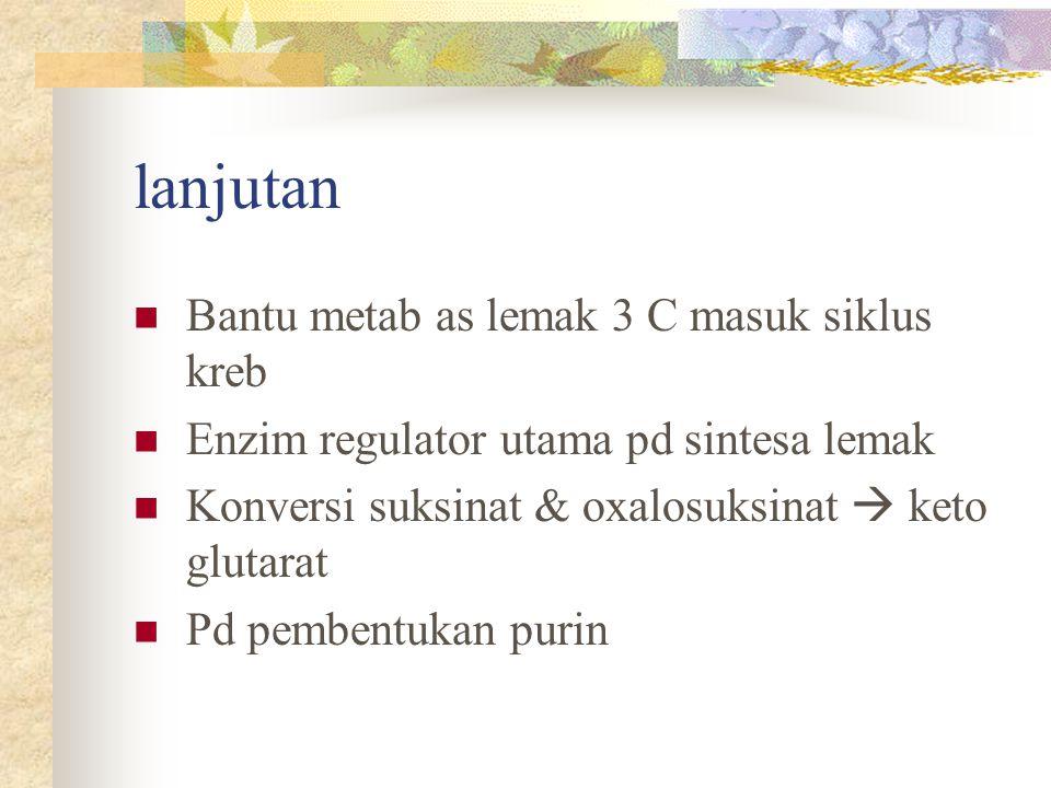 lanjutan Bantu metab as lemak 3 C masuk siklus kreb Enzim regulator utama pd sintesa lemak Konversi suksinat & oxalosuksinat  keto glutarat Pd pemben