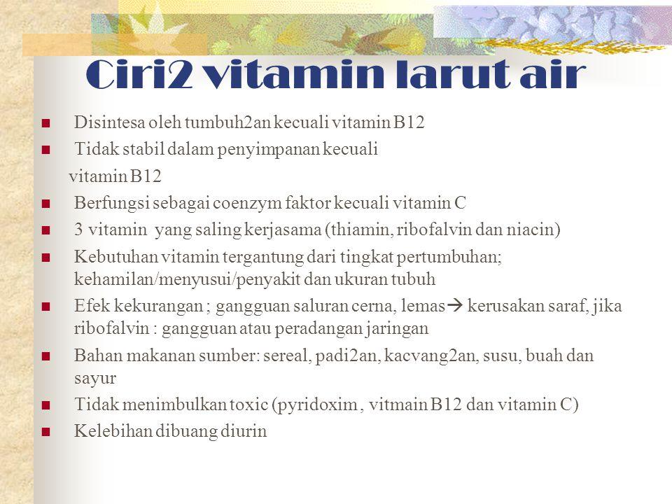 Karakteristik vitamin Zat organik terdiri dr C, O & elemen lain Vital (bukan CHO, prot, lemak) dibutuhkan dlm jml kecil u/ proses metabolik & cegah peny defisiensi Tdk dpt diprod dlm tubuh, hrs dr mak Tdk menghasilkan energi Terdiri dr vit larut lemak & air