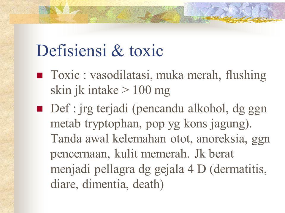 Defisiensi & toxic Toxic : vasodilatasi, muka merah, flushing skin jk intake > 100 mg Def : jrg terjadi (pencandu alkohol, dg ggn metab tryptophan, po