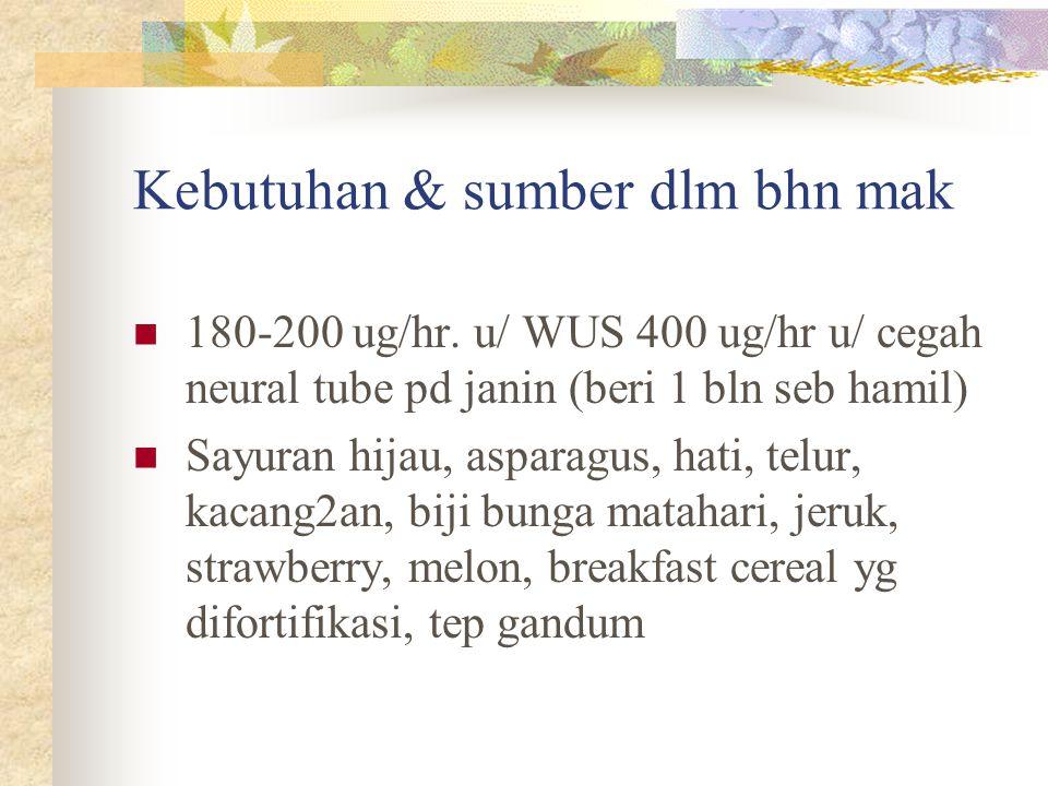 Kebutuhan & sumber dlm bhn mak 180-200 ug/hr. u/ WUS 400 ug/hr u/ cegah neural tube pd janin (beri 1 bln seb hamil) Sayuran hijau, asparagus, hati, te