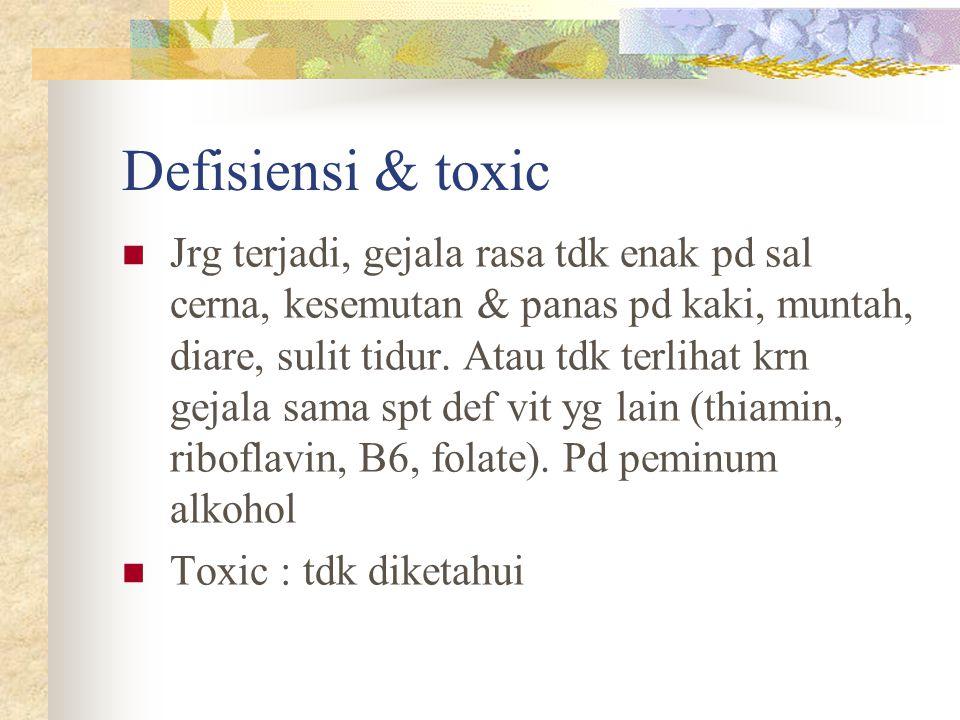 Defisiensi & toxic Jrg terjadi, gejala rasa tdk enak pd sal cerna, kesemutan & panas pd kaki, muntah, diare, sulit tidur. Atau tdk terlihat krn gejala