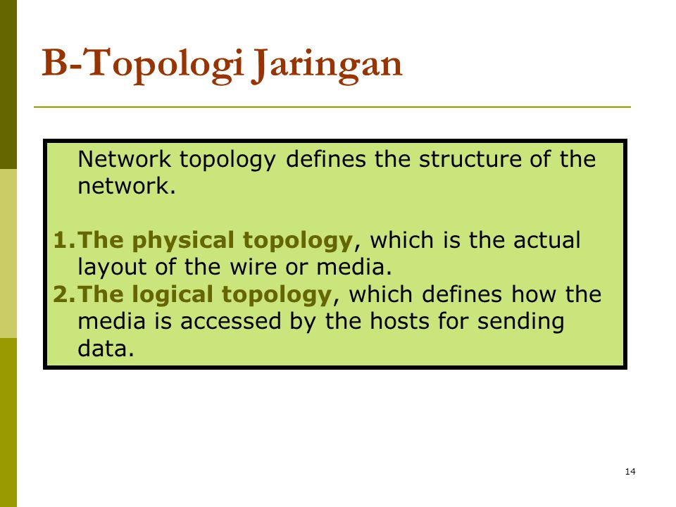 14 B-Topologi Jaringan Network topology defines the structure of the network.
