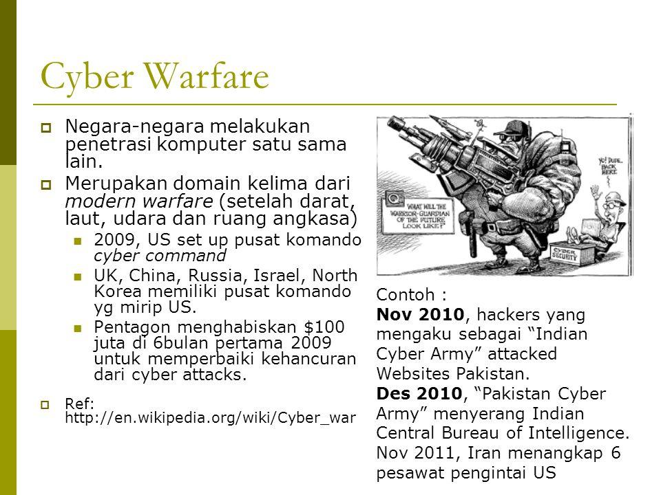 Cyber Warfare  Negara-negara melakukan penetrasi komputer satu sama lain.  Merupakan domain kelima dari modern warfare (setelah darat, laut, udara d