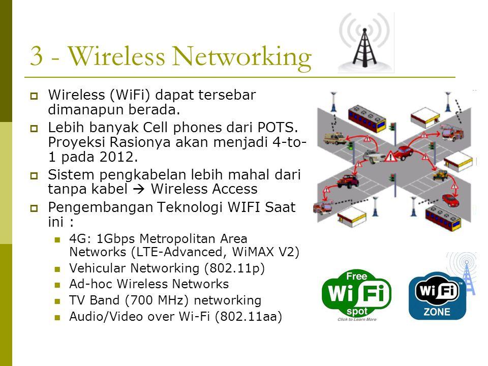 3 - Wireless Networking  Wireless (WiFi) dapat tersebar dimanapun berada.  Lebih banyak Cell phones dari POTS. Proyeksi Rasionya akan menjadi 4-to-