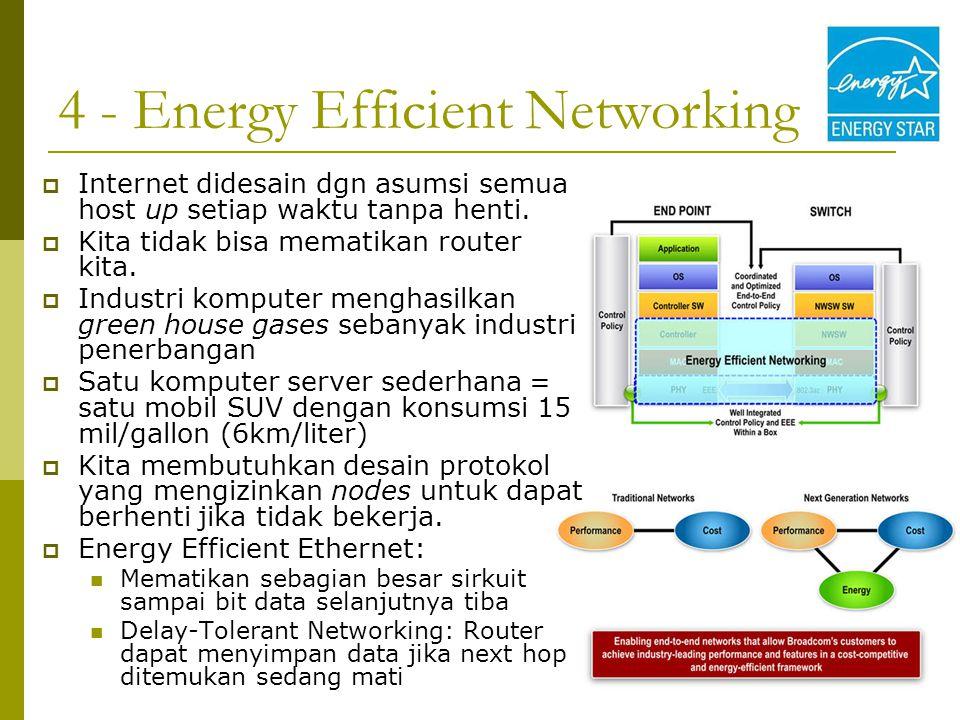 4 - Energy Efficient Networking  Internet didesain dgn asumsi semua host up setiap waktu tanpa henti.  Kita tidak bisa mematikan router kita.  Indu