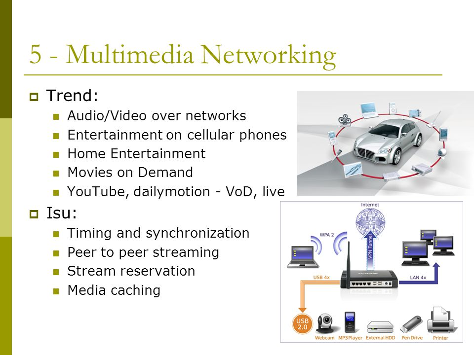 5 - Multimedia Networking  Trend: Audio/Video over networks Entertainment on cellular phones Home Entertainment Movies on Demand YouTube, dailymotion - VoD, live  Isu: Timing and synchronization Peer to peer streaming Stream reservation Media caching
