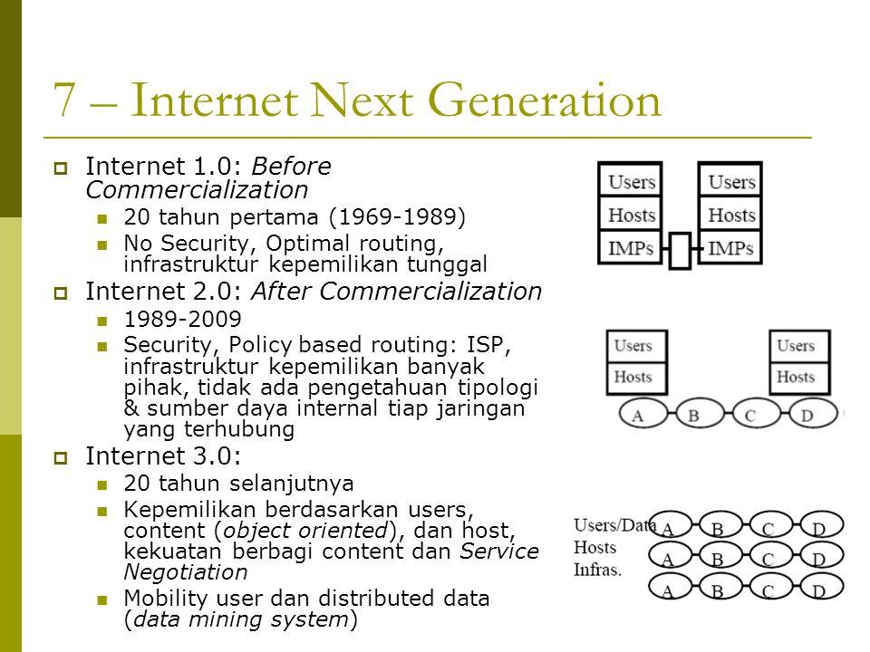7 – Internet Next Generation  Internet 1.0: Before Commercialization 20 tahun pertama (1969-1989) No Security, Optimal routing, infrastruktur kepemil