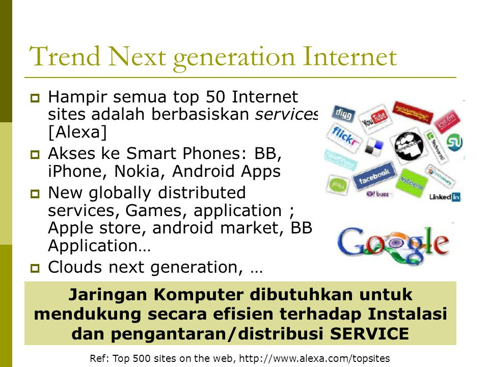 Trend Next generation Internet  Hampir semua top 50 Internet sites adalah berbasiskan services [Alexa]  Akses ke Smart Phones: BB, iPhone, Nokia, An
