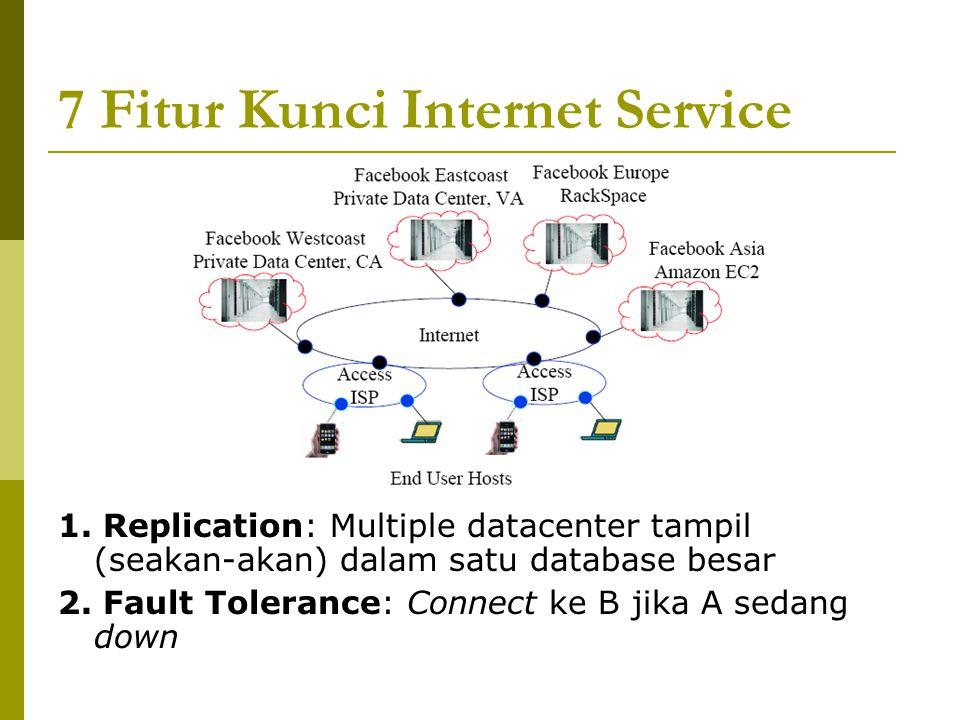 7 Fitur Kunci Internet Service 1. Replication: Multiple datacenter tampil (seakan-akan) dalam satu database besar 2. Fault Tolerance: Connect ke B jik