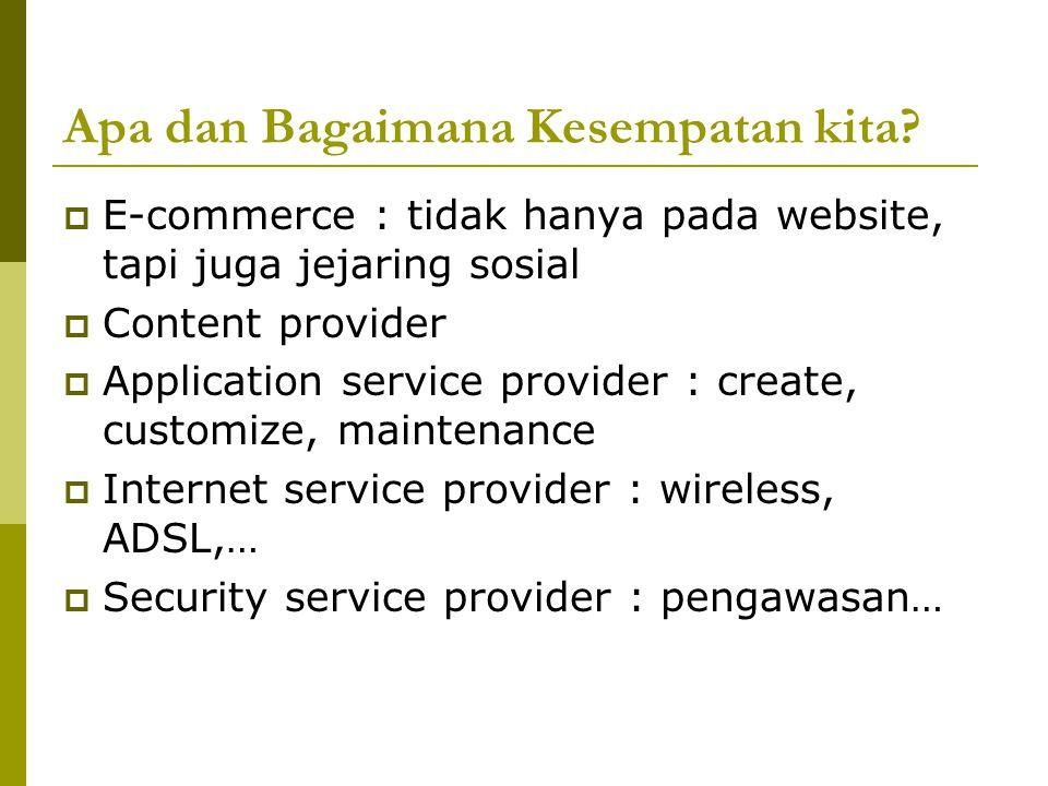 Apa dan Bagaimana Kesempatan kita?  E-commerce : tidak hanya pada website, tapi juga jejaring sosial  Content provider  Application service provide