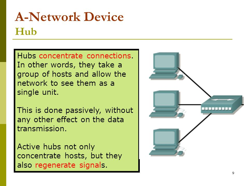 9 A-Network Device Hub Hubs concentrate connections. In other words, they take a group of hosts and allow the network to see them as a single unit. Th